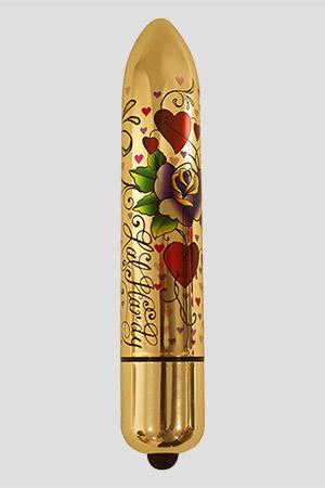 Vibratore Classico Heart n` Roses Oro 16cm