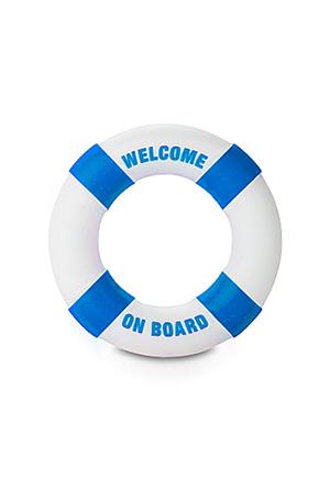 Anello Fallico Buoy Welcome on Board Diam 3cm Azzurro