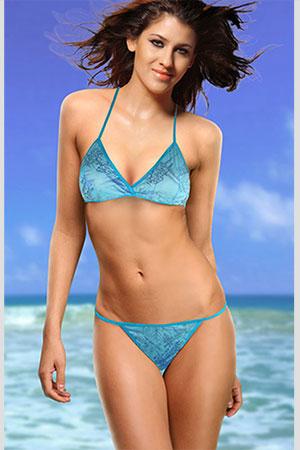 Costume Mare Bikini Azzurro Bordo Azzurro