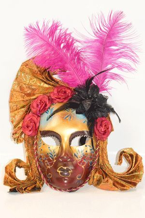 Maschera Veneziana con Piume Rosa